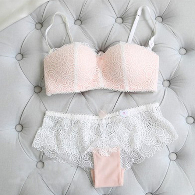 Shitagi Sem Fio Sexy Breifs Underwear Mulheres Set Push Up Bra Set Bordado Floral Lace Intimates Fina Luxo 1/2 Xícara Lingerie