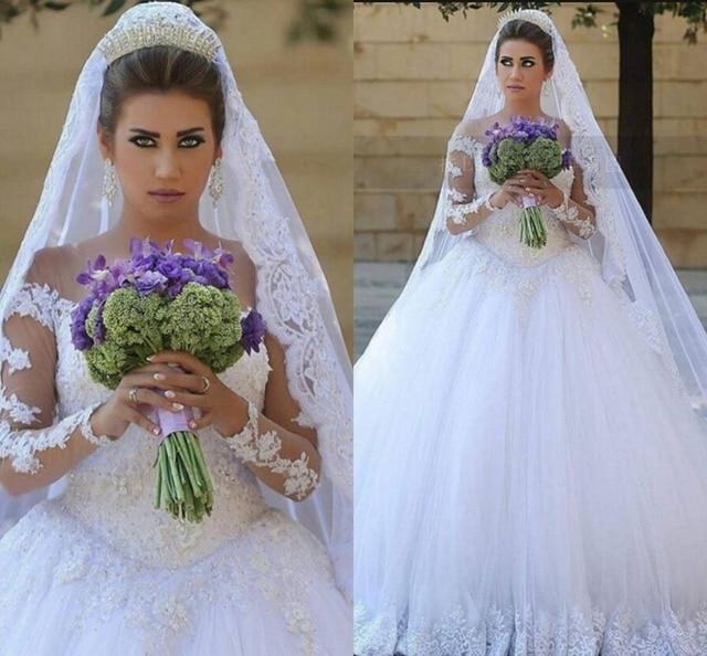 3fc6a53eb78 Fashion long sleeve muslim ball gown wedding dress arabic modest appliques  beaded puffy wedding gowns free shipping bride dress