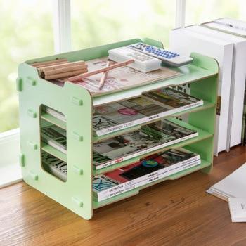 Office Wooden Desk Organizer Paper File Magazine Holder Desktop Books Box