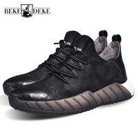 2018ブランド新しい男性本革カジュアルシューズ通気性の快適さ学生男性履物ソフト厚いプラットフォームレースアップパンク靴