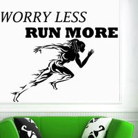 Gym Name Sticker Girl Run Fitness Crossfit Decal Body building Posters Vinyl Wall Decals Parede Decor Gym Sticker