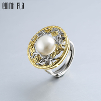 Natural Pearl Round Design Rings Silver Women Vintage Open Rings Baroque Jewelry Adjustable Wedding Rings For Women Wholesale