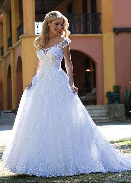 Glamorous Tulle V-neck Neckline A-line Wedding Dresses With Lace Appliques Bridal Dress vestidos de noivas 3