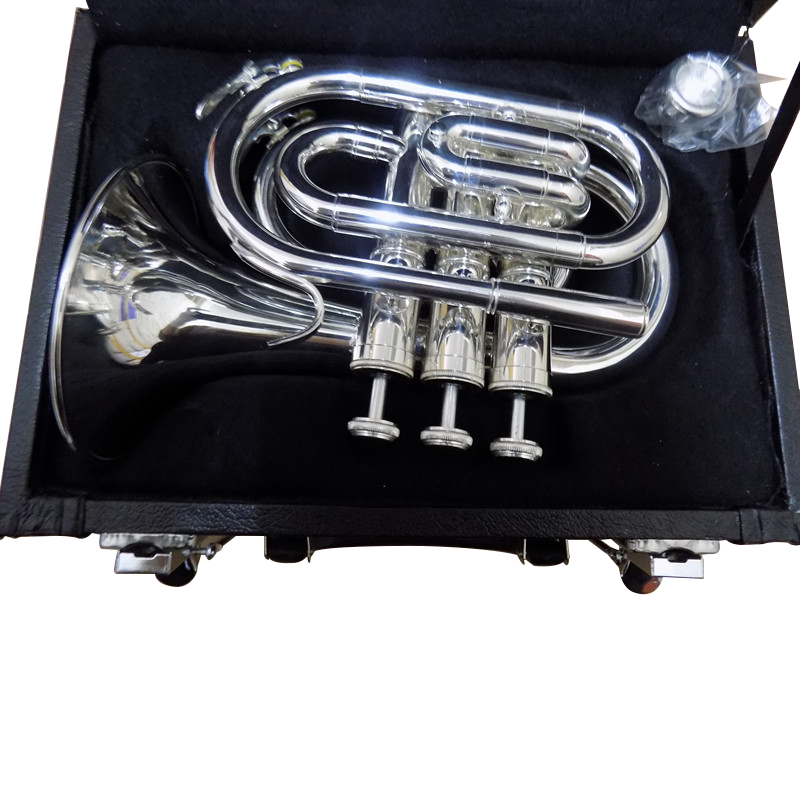 Bb Pocket trumpet horn Silver Plated with Case and Mouthpiece musical instruments professional new ab 190s brand quality bb trumpet brass tube silver plated professional musical instruments with case mouthpiece accessories