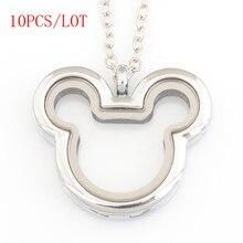 10 PÇS/LOTE, Mickey coração medalhão flutuante megnetic, com livre 50 55 cm cadeia FN0033
