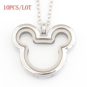 Image 1 - 10 шт./лот, Микки Сердце megnetic плавающий медальон, с бесплатной цепочкой 50 55 см FN0033
