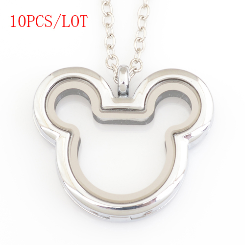 10 шт./лот, Микки Сердце megnetic плавающий медальон, с бесплатной цепочкой 50 55 см FN0033