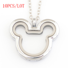 10PCS/LOT,Mickey heart megnetic floating locket,with free 50 55cm chain FN0033