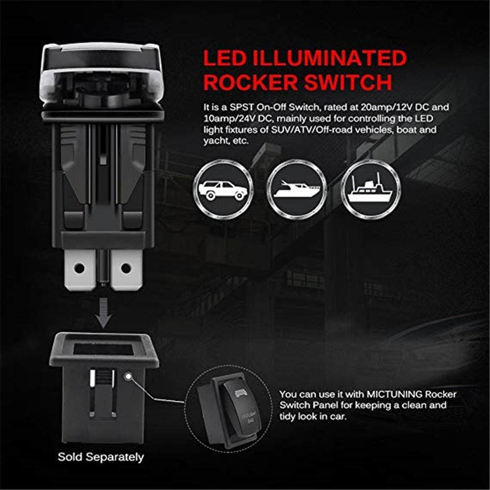 Laser RED Rocker Switch LED STEREO 20a 12v Lighted