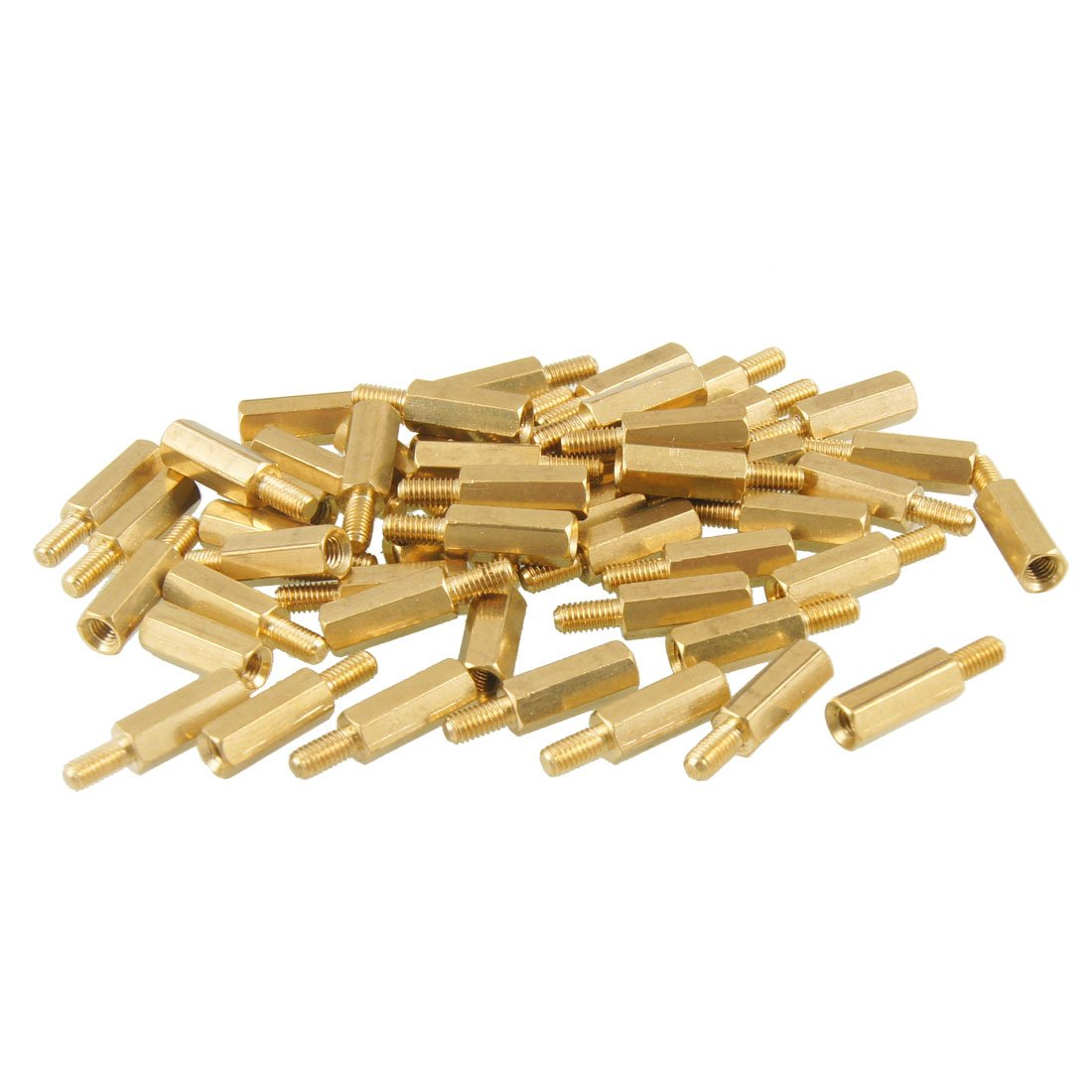 NFLC 50 Pcs Brass Screw Hexagonal Stand-off Spacer M3 Male x M3 Female 12mm Body Length 20pcs m3 copper standoff spacer stud male to female m3 4 6mm hexagonal stud length 4 5 6 7 8 9 10 11 12mm
