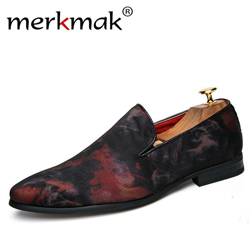 Merkmak Man Shoes Luxury 2018 Men Loafers Brand Casual Elegant Red Navy Fashion Men's Shoes For Office Wedding Party fashion young man red casual shoes men luxury high top toe mens falts british trend flat heel men s loafers shoes