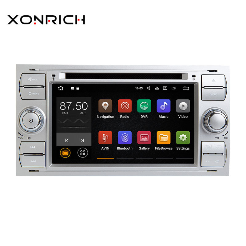 Xonrich Voiture Multimédia Lecteur 2Din Autoradio GPS Android 8.1 Pour Ford Focus 2 Mondeo 4 C-Max S -Max Ford Fiesta Kuga FusionGalaxy