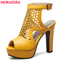 MORAZORA Size 34 50 Hot Sale 2018 New Fashion High Quality Gladiator Sandals Women High Heels