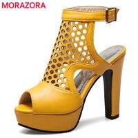 MORAZORA Size 34 50 Hot Sale 2018 New Fashion High Quality Gladiator Sandals Women High Heels