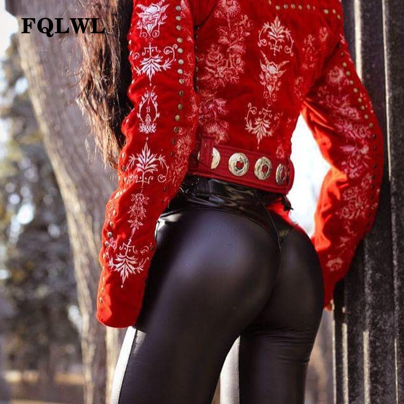 FQLWL Punk Bodycon Faux Pu Leather Pants Women Push Up Black High Waist Pants Female Autumn Winter Trousers Women Sexy Pants 8