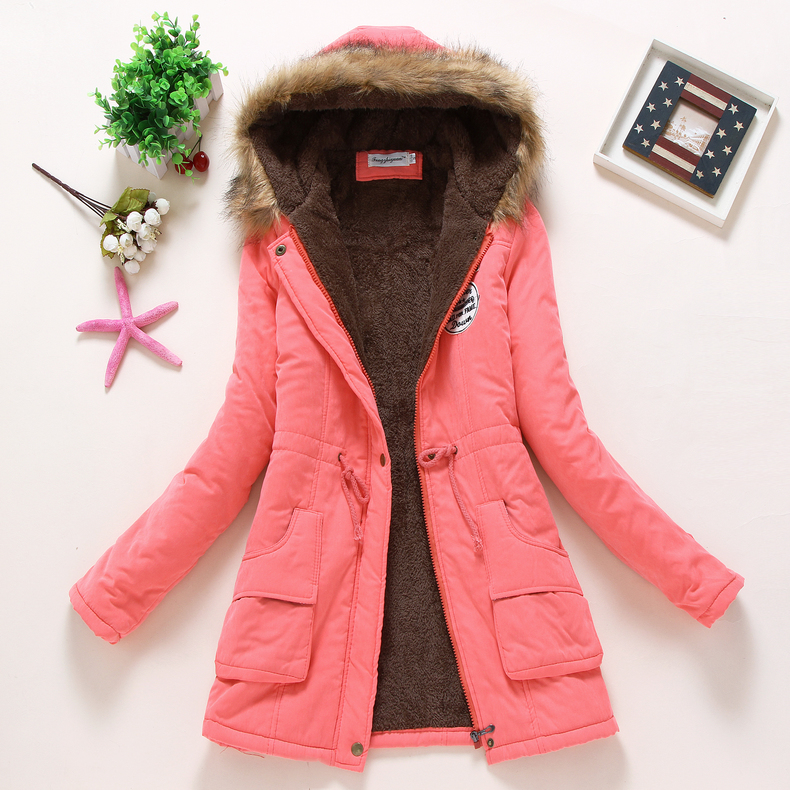 new winter women jacket medium-long thicken plus size 4XL outwear hooded wadded coat slim parka cotton-padded jacket overcoat 7