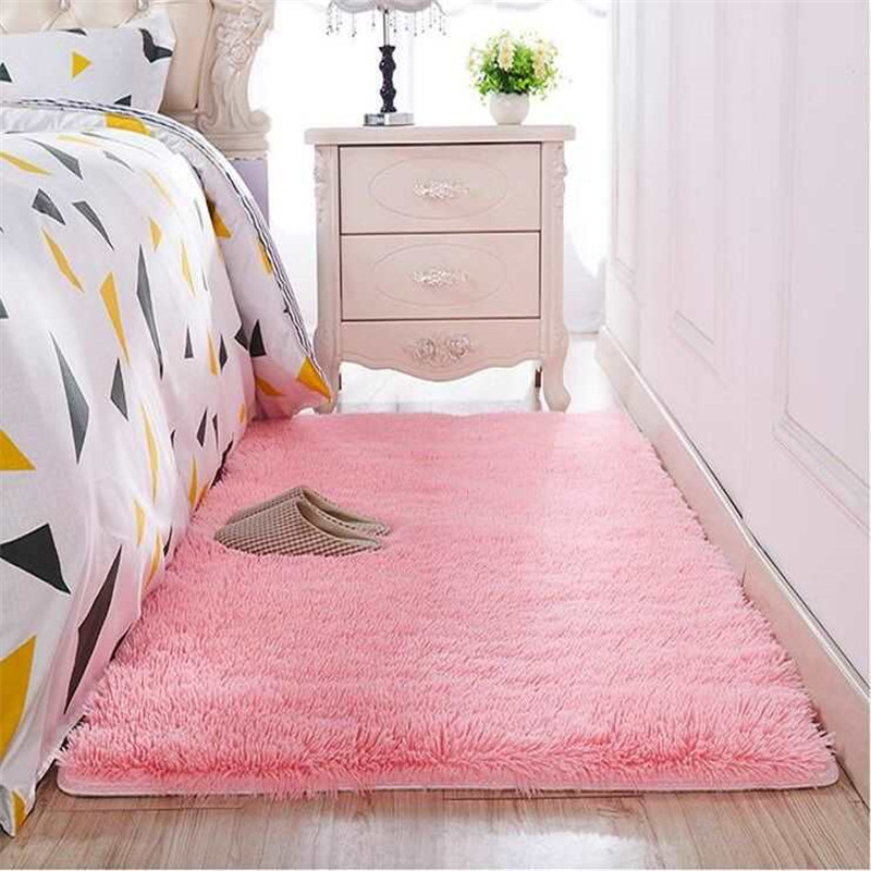 Thickened Washed Silk Hair Non-slip Carpet Living Room Coffee Table Blanket Bedroom Bedside Mat Yoga Rugs Solid Color Plush