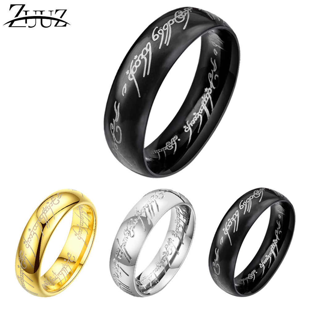 ZUUZ couple stainless steel rings for men finger male female silver mood rings black gold jewelry kpop accessories punk women