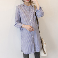 Pregnant Striped Blouse with Buttons Maternity Shirts Full Sleeve Pregnancy Clothes Outwear Clothes For Pregnant Women