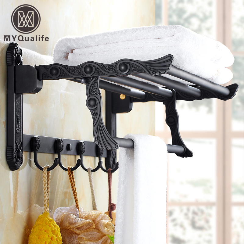 Oil Rubbed Bronze Wall Mounted Folding Bath Towel Rack Brass Black Towel Holder Towel Bar with Hooks black oil rubbed bronze bathroom accessory wall mounted toothbrush holder with two ceramic cups wba197