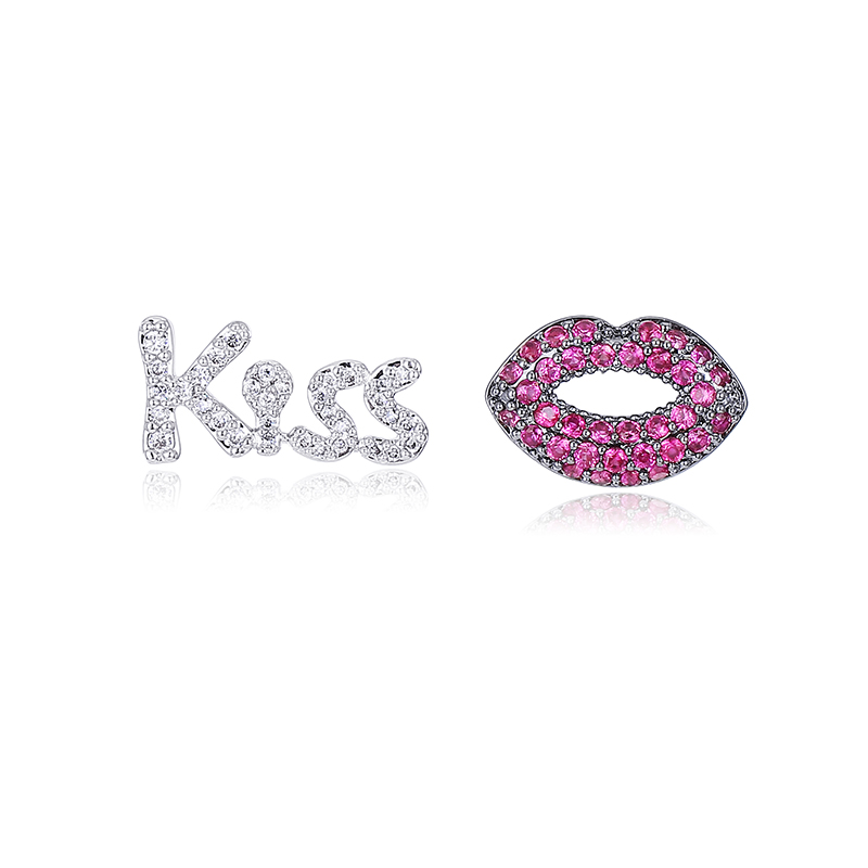 Brincos Womens Mismatched Lip Letter Kiss Stud Earrings Special Design Pink Cubic Zirconia Paved For Engagement Party Jewelry