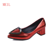 Office Ladies High Heel Shoes Women Pointed Toe Buckle Thick Heels Pumps Sexy Party Club Female Footwear Sandals Valentine Shoes taoffen women thick high heel shoes women patchwork bowknot heart buckle heels pumps ladies office daily footwear size 28 43