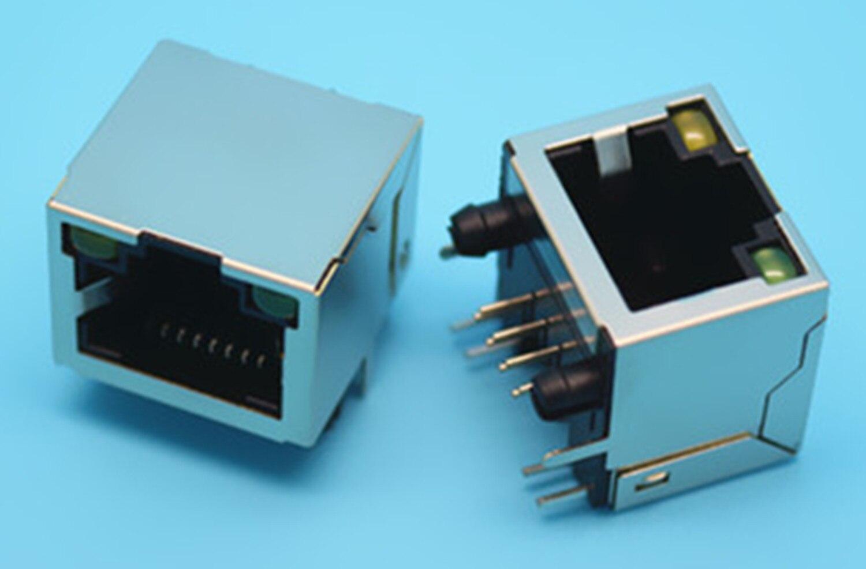 2 PCS Tomada RJ45 90-graduação Ângulo Direito PCB Blindado Conector de Rede Com LED Sem estilhaços