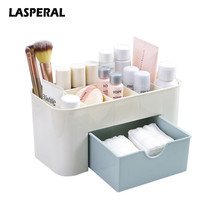LASPERAL Multi-functional Plastic Makeup Box Jewelry Box Cosmetic Storage Organizers With Small Drawer Desk Sundries Organizers(China)