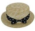 El envío Libre 2016 Nueva Moda de Verano Dot Arco Sombreros de Paja Navegante Sombrero Para Las Mujeres