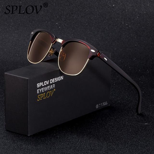 8ba800a23966 SPLOV Semi Rimless Polarized Sunglasses Men Women Vintage Metal Sun Glasses  Classic Half Frame Driving Eyewear Oculos De Sol