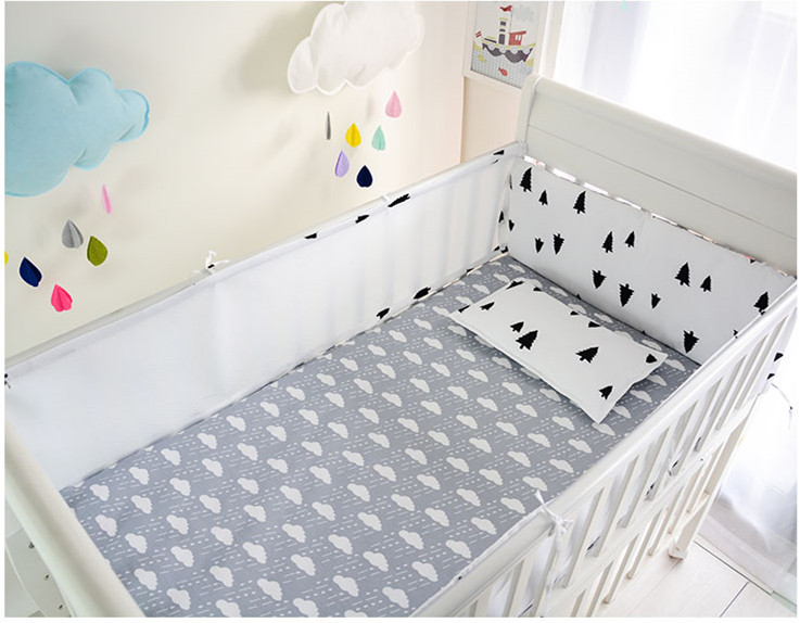 Promotion! 5PCS Cartoon Cotton Baby Bumper Set Unisex Cartoon Crib Bedding Sets Detachable ,include:(bumper+sheet)