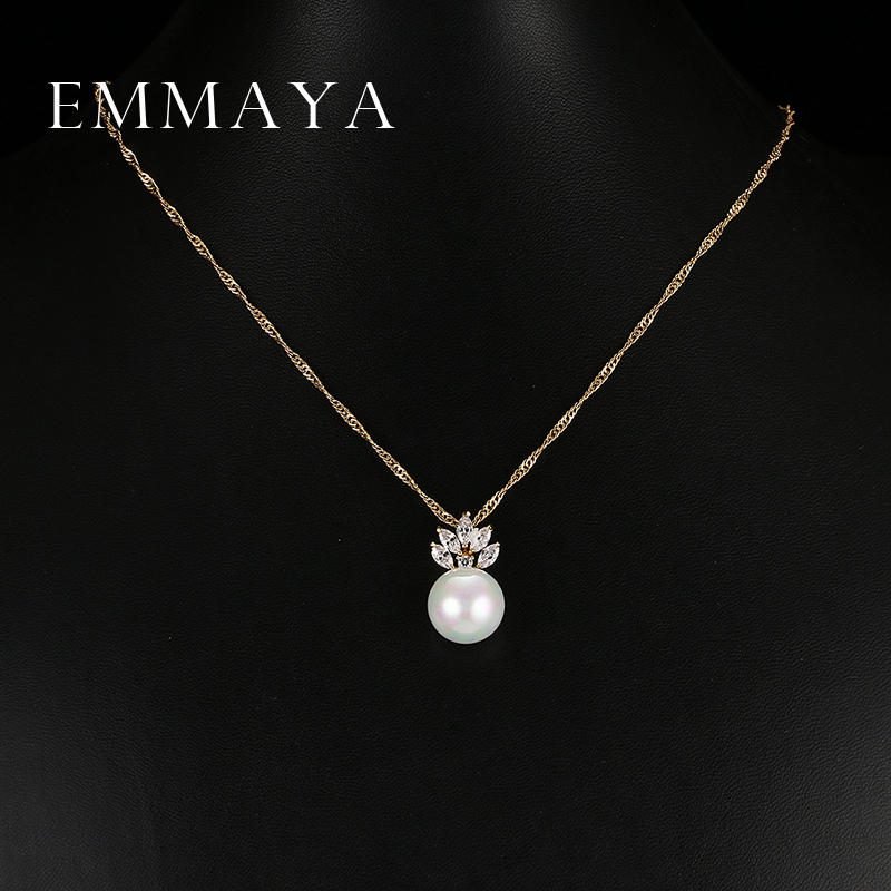 Emmaya Fashion Jewelry Simple Simulated Pearl Necklace Long Zircon Crystal Beads Pendant Necklaces For Women