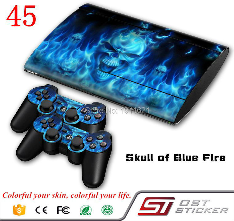 OSTSTICKER Blue fire skin sticker for ps3 super slim and 2 controller protective for Play Station 3 slim skin decal