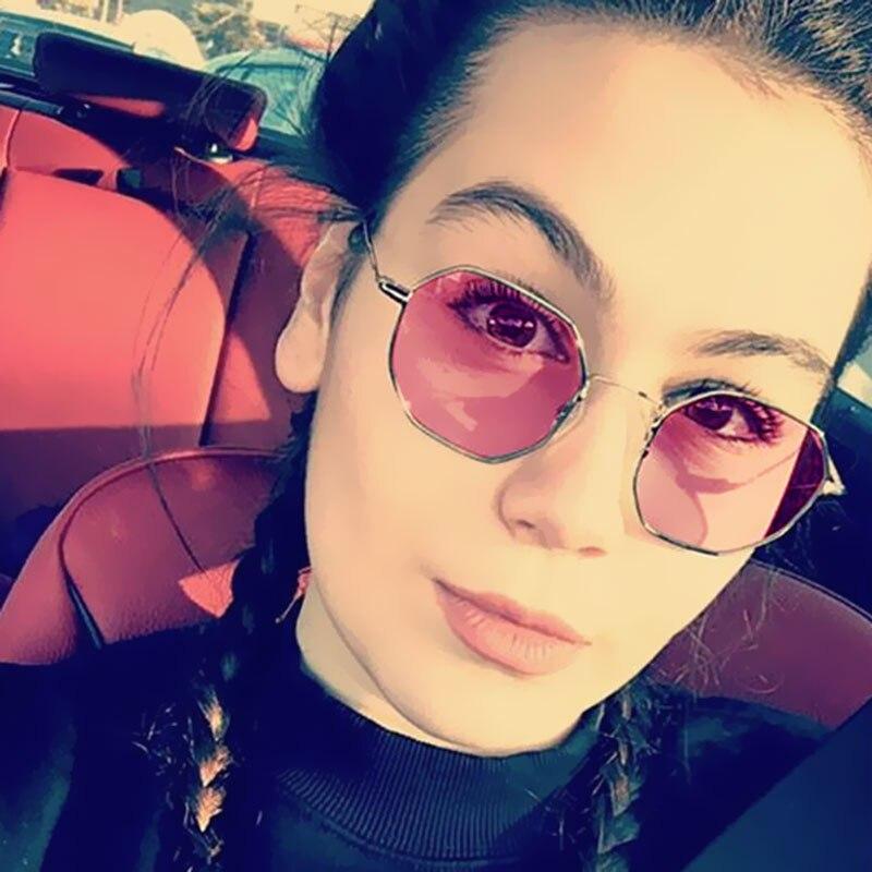2017 New Unique Hexagon Sunglass Women Men Brand Designer Transparent Clear Mirror Sun Glasses Female Ladies Sun Glasses Eyewear
