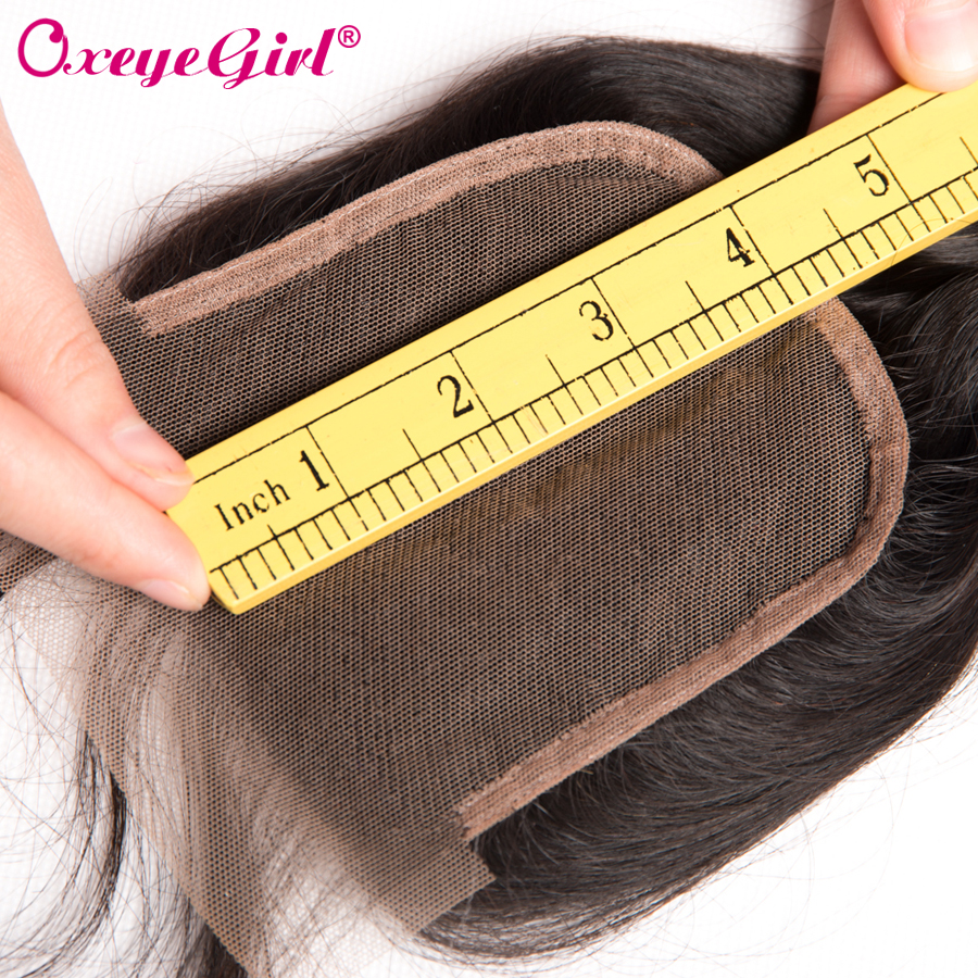 Peruvian Body Wave Lace Closure Med Baby Hair Free / Middle / Three - Menneskehår (sort) - Foto 5