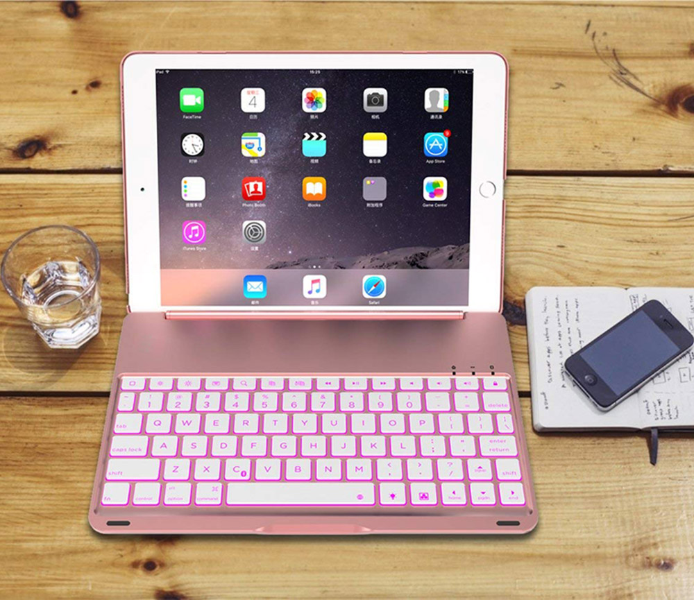 7 Colors Backlit Light Wireless 4.0 Bluetooth Keyboard Cover Case For Ipad 9.7 2017 5Th 6Th Air 1 Tablet Case +Film +Pen