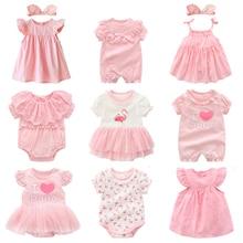 Одежда и платья для новорожденных девочек летние розовые комплекты одежды принцессы для маленьких девочек на день рождения, на возраст от 0 до 3 месяцев, robe bebe fille