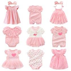 Одежда и платья для новорожденных девочек летние розовые комплекты одежды принцессы для маленьких девочек на день рождения, на возраст от 0 ...