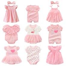 Детское летнее платье принцессы, розовое платье для новорожденных, на возраст 0-3 месяца