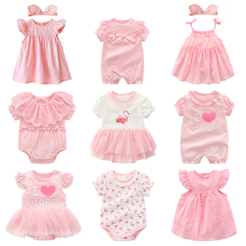 b185d18cf Ropa y vestidos para niñas recién nacidas verano princesa Rosa conjuntos de  ropa para fiesta de cumpleaños 0 3 meses traje de bebe fille