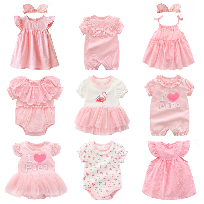 New Born Baby Girl Clothes&dresses Summer Pink Princess Little Girls Clothing Sets For Birthday Party 0 3 Months Robe Bebe Fille