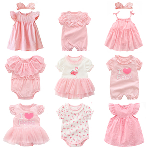new born baby girl clothes&dresses summer pink princess little girls clothing sets for birthday party 0 3 months robe bebe fille(China)