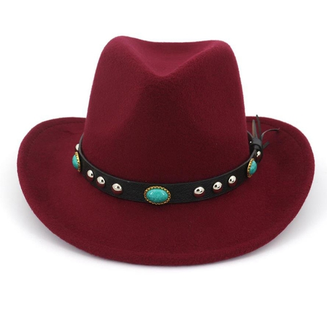 Bull Rider Jazz Sunhat Men Women Felt Hats Ribbon Band Western Cowboy Hat 6 Colors Trilby Bowler Hat For Unisex