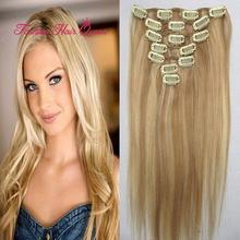 70g Clip In Hair Extension Brazilian Virgin Remy Human Hair 7pcs #18/613 brown blonde mix 15″18″20″22″24″26″28″ 38-70cm 22color
