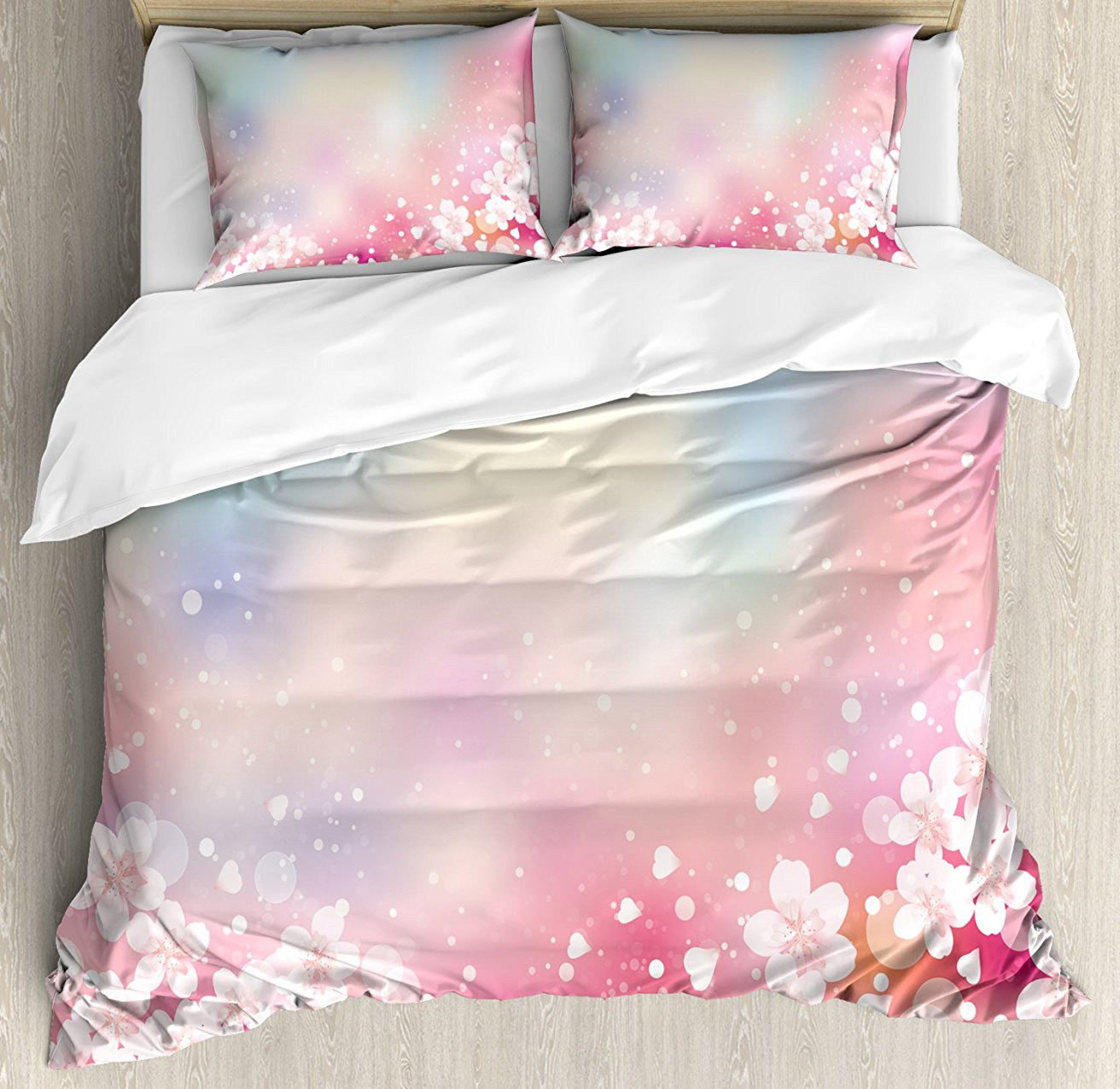 Pastel Duvet Cover Set, Japanese Nature Sakura Tree Cherry Blossoms Romantic Hazy Dreamy Cheerful 4 Piece Bedding Set