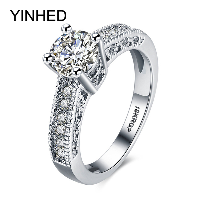 YINHED White Gold Filled Ring With 18KRGP Stamp 7mm Cubic Zirconia CZ Dimaond Engagement Wedding Rings for Women Jewelry ZR188
