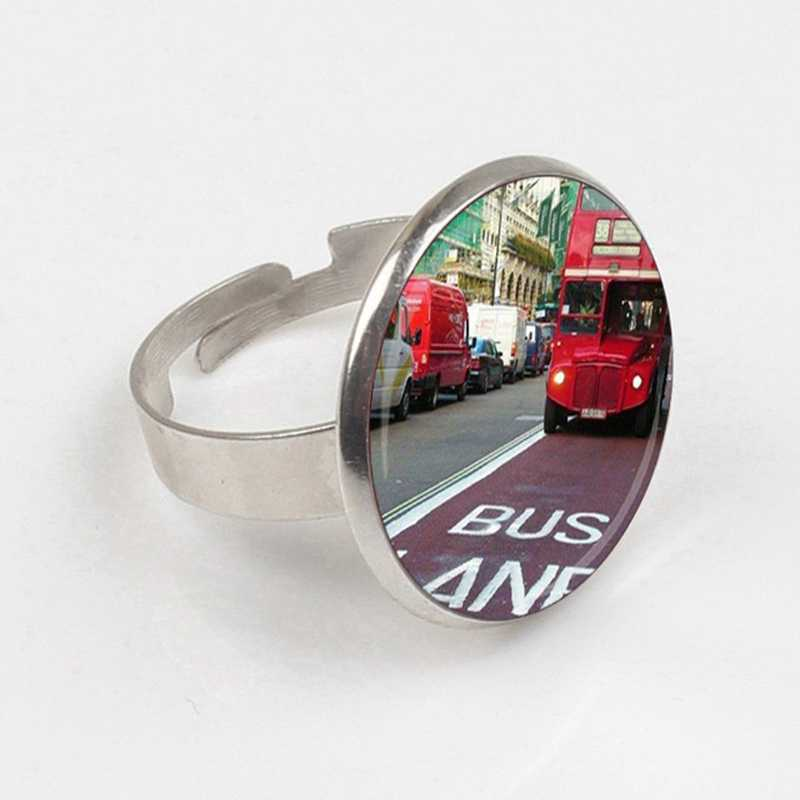 GDRGYB 2019 EJ Glaze Jewelry Fashion Statement ring Glass ring For Women Kids Old London Montage Red Double Decker Bus