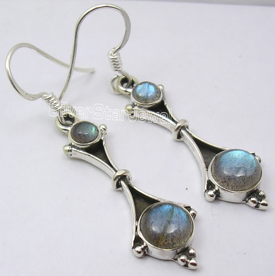 Silver LABRADORITE ELEGANT Dangle Earrings 4.6CM red cnc pivot brake clutch levers for honda crf 250r 450r crf250r crf450r 2004 2006 crf 250x 450x crf250x crf450x 2005 2016