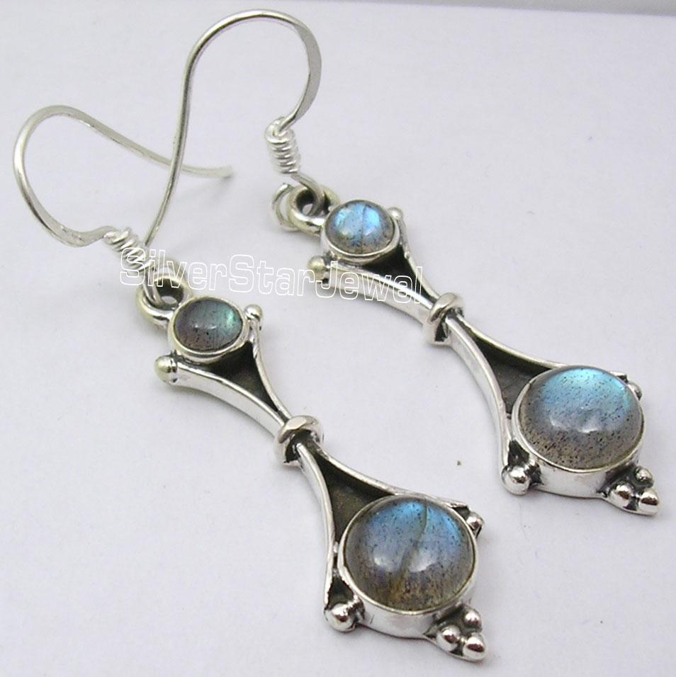 Silver LABRADORITE ELEGANT Dangle Earrings 4.6CM