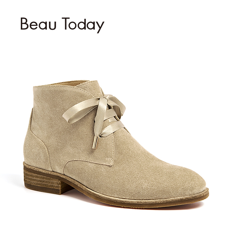 BeauToday Women Ankle Boots Genuine Leather Cow Suede Ribbon Lace-Up Boots Brand Lady Shoes High Quality 03080 стоимость